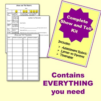 Complete Show and Tell Kit {Rubric to assess presentation skills included}