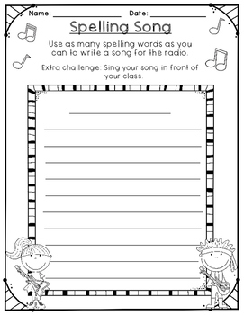 Spelling Activities - No Prep - Use Your Own Words - 10, 15, or 20