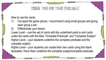 Complete Subject and Predicate Matching Game
