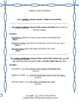 Complete Subjects and Predicates Unit