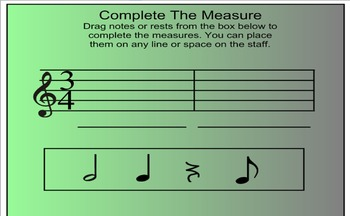 Complete The Measure --Smart Board Activity-- Time Signature, Music Notes