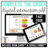 Complete The Order - Fast Food Digital Activities