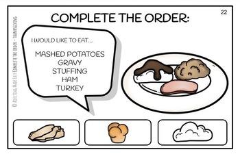 Complete The Order - Thanksgiving Dinner Large Task Cards