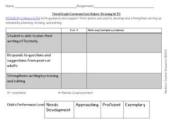 Complete Third Grade Writing Common Core Rubrics + Checklists