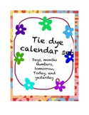 Complete Tie Dye Calendar set. White letters. Months/Day/N