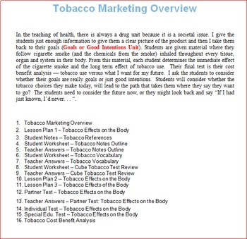 Tobacco Unit -- All Lessons Bundle