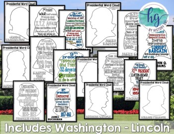 Complete U.S. Presidents Coloring Pages and Word Cloud Activity