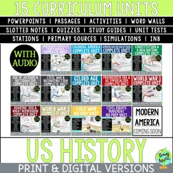 Complete US History Curriculum, American History Curriculum, Distance/Digital