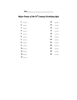 Complete U.S. History Vocabulary Quizzes For The Year!