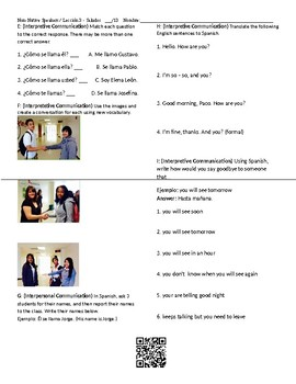 Complete Unit 1 Spanish Class Greetings, Classes, Telling Time, Alphabet