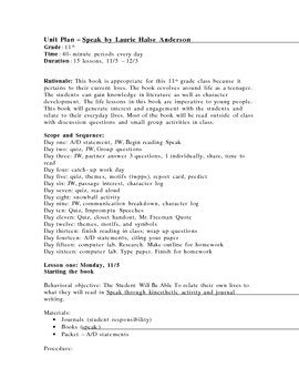 complete unit plan and worksheets for speak by laurie halse anderson