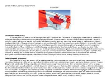 Complete Unit Plan- grade 4  Canada's Provinces and Territories