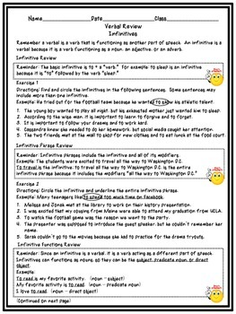 Complete Verbal Review Worksheet Set and Mixed Review Activity