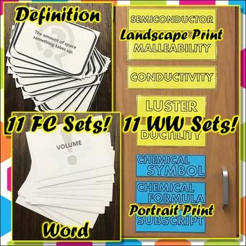 Bundle: Complete Vocab Flashcard & Word Wall Pack for Seventh Grade Science TEKS