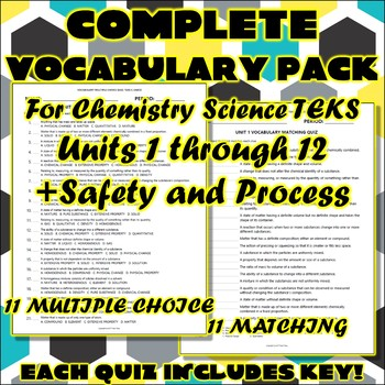 Complete Vocabulary Pack for Chemistry Science TEKS