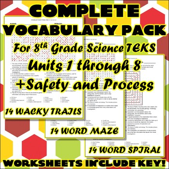 Complete Vocabulary Pack for Eighth Grade Science TEKS