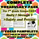 Bundle: Complete Vocabulary Pack for Seventh Grade Science TEKS