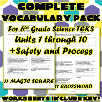 Complete Vocabulary Pack for Sixth Grade Science TEKS