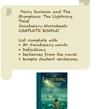Complete Vocabulary Set The Lightning Thief