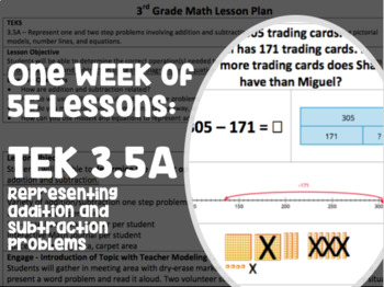 Complete Week of Lessons for TEK 3.5A Addition and Subtraction of Whole Numbers