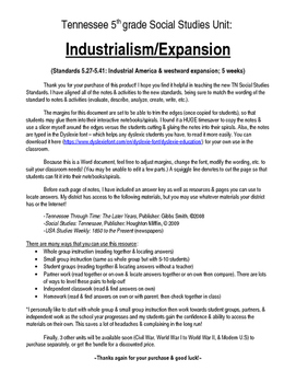 Complete Westward Expansion/Industrial America Unit (5th Grade TN Standards)