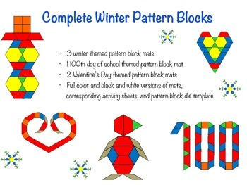 Complete Winter Pattern Blocks (Valentines Day and 100th day included)