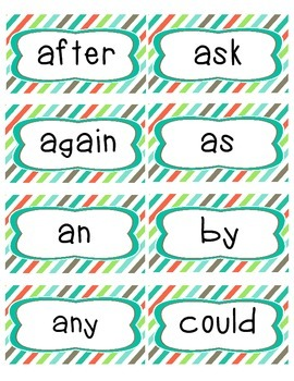 Complete Word Wall Set: 1st grade Dolch sight word cards and ABC Headers