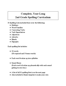 Complete, Year-long, 2nd Grade Spelling Curriculum