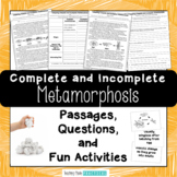Comparing Complete and Incomplete Metamorphosis Reading Passages and Activities