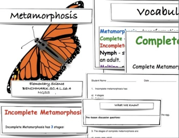 Complete and Incomplete Metamorphosis - FCAT Science