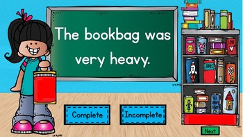 Complete or Incomplete Sentences: School Themed PowerPoint Game