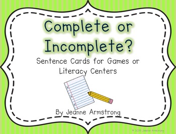 Complete and Incomplete Sentence Cards
