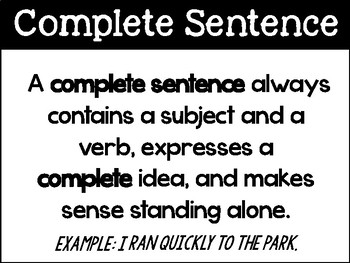 Complete and Incomplete Sentence Interactive Activity