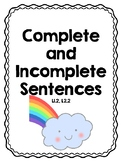 Complete and Incomplete Sentence Review Worksheet