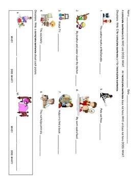 Complete and Incomplete Sentence Sort for ELLs