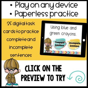 Complete and Incomplete Sentences Boom Cards