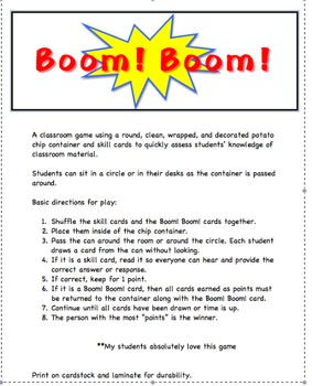 Complete and Incomplete Sentences Boom!Boom! Whole Group Game