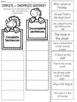 Complete and Incomplete Sentences Cut and Paste Sorting Activity