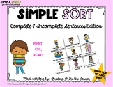 Complete and Incomplete Sentences Sorting Cards