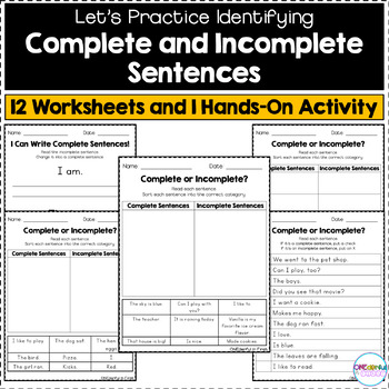 Complete and Incomplete Sentences - Worksheets and Hands-On Activity