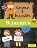 Complete and Incomplete Sentences Quiz-Quiz-Trade