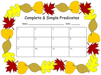 Complete and Simple Predicate Task Cards (Fall Themed)