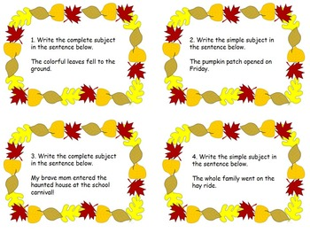 Complete and Simple Subject Task Cards (Fall Themed)