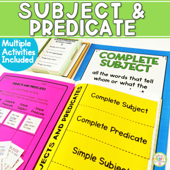 Complete & Simple Subject & Predicate Unit Posters Task Cards Quiz