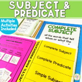 Simple Subject & Predicate Task Cards Posters and quizzes