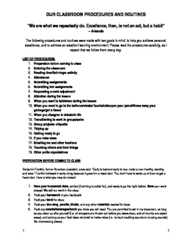 Complete classroom procedures and rules- humorous and thorough!