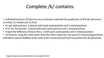 Complete /k/