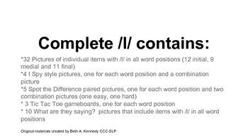 Complete /l/