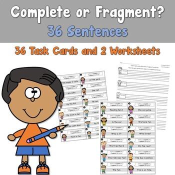 Complete or Fragment Sentences Task Cards
