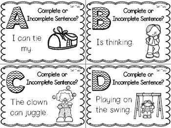 Complete or Incomplete Sentence Task Cards